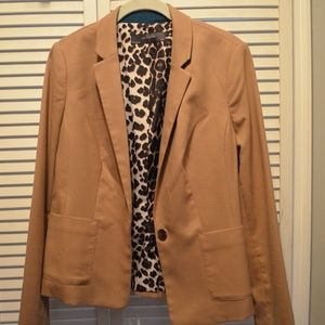 The Limited Caramel Blazer with Leopard Inlay